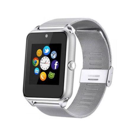 AlphaOne - Z60 - strieborný kovový náramok Smart hodinky, vstavaný fotoaparát