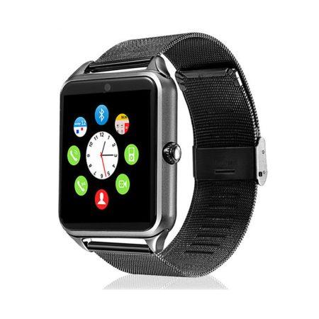 AlphaOne Z60 smart hodinky, čierný ocelový náramok, vstavaný fotoaparát