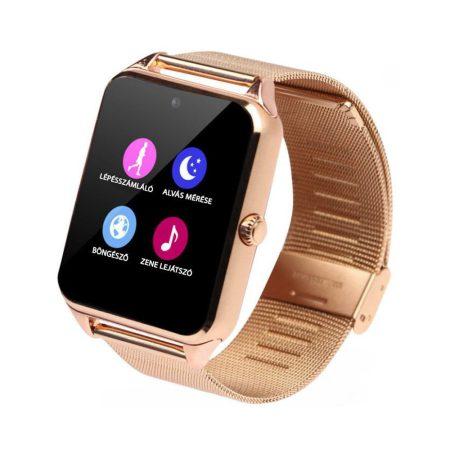 AphaOne Z60 smart hodinky, kovový ramienok SIM karta vstavaná kamera zlatá holm0196