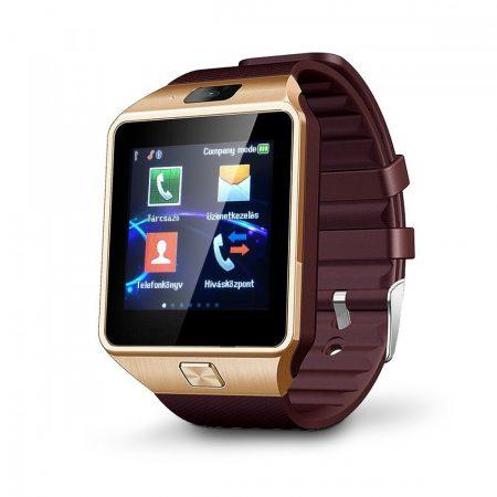 AlphaOne DZ09 inteligentné hodinky so zlatým, hnedým opaskom. Telefón už nemusíte vybrať z vrecka alebo z tašky