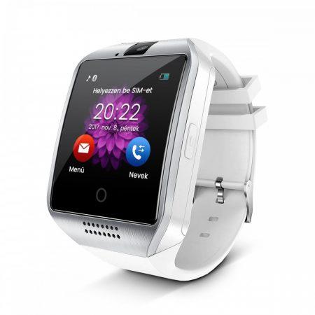 AlphaOne Q18 SmartWatch zakrivená obrazovka, strieborná - biela farba - SIM foglalat,kamera