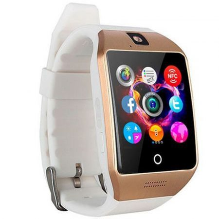 AlphaOne Q18 SmartWatch  bielo - zlatá   - so zaobleným displejom a SIM kartou