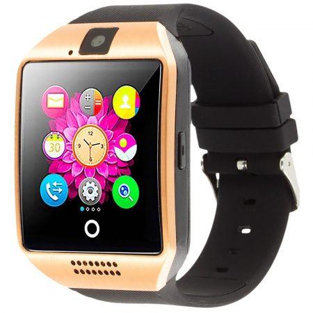 AlphaOne Q18 SmartWatch  Black-Gold so zaobleným displejom a SIM kartou