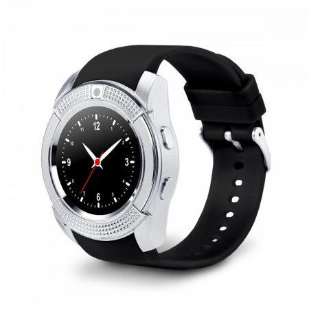 Bass V8 smart hodinky, strieborné
