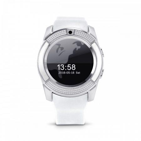 Bass V8 smart hodinky, biele
