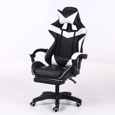 RACING PRO X Herná stolička s podnožkou -bielo-čierna