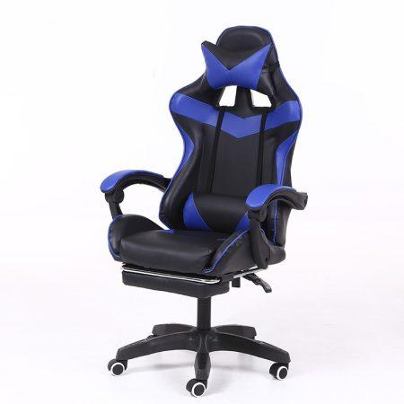 Gamer stolička s podnožkou -modrá, čierna