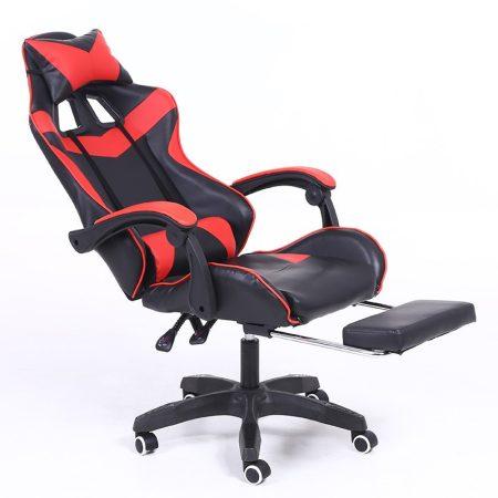 Gamer stolička s podnožkou -červená, čierna