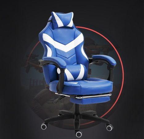 Gamer stolička s podnožkou -biela, modrá