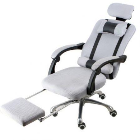 Prezidentská stolička s podnožkou, biela -sivá