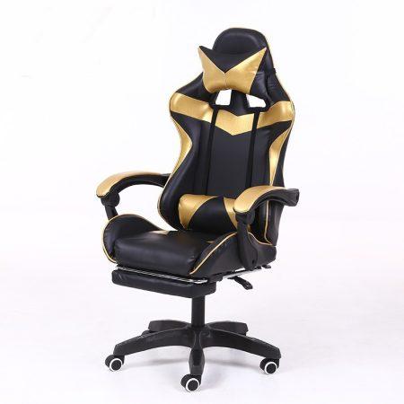 RACING PRO X Herná stolička s podnožkou, zlato-čierna