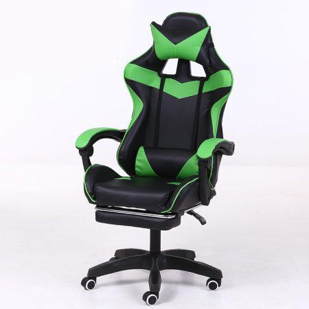 RACING PRO X Herná stolička s podnožkou, zeleno-čierná