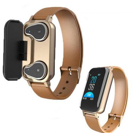 T89 inteligetný náramok  - zlatá-Majte všetko na jednom mieste, náramok+ Bezdrôtové slúchadlá