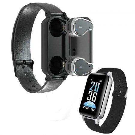 T89 inteligentný náramok- čierny-Majte všetko na jednom mieste, náramok+ Bezdrôtové slúchadlá