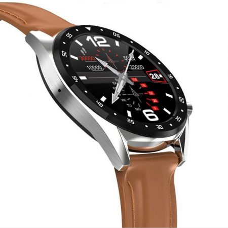 L7 inteligentné hodinky s Hnedým kožený náramkom