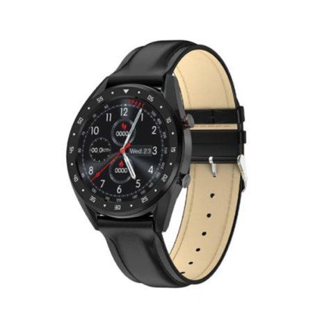 L7 inteligentné hodinky s čierným koženým remienkom