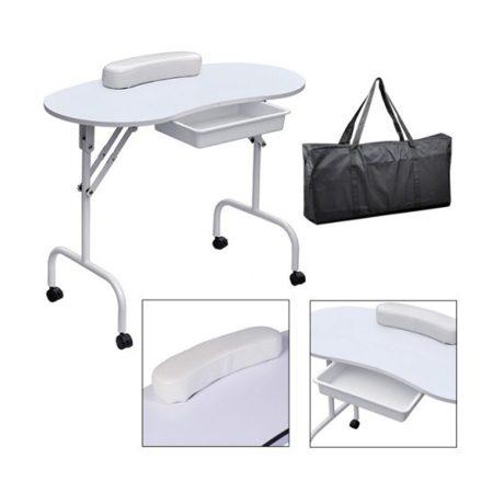 Biely skladaci stolík na manikúru s kolieskami