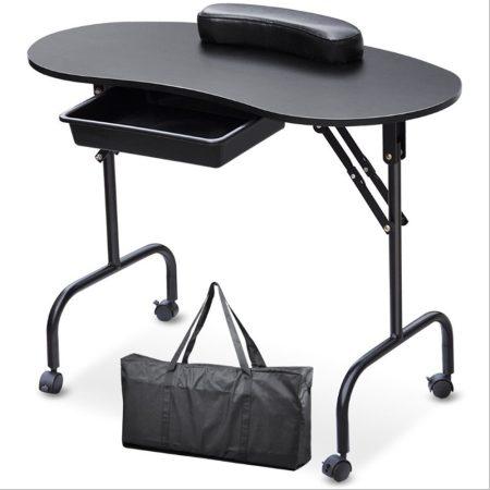 Čierny skladaci stolík na manikúru s kolieskami