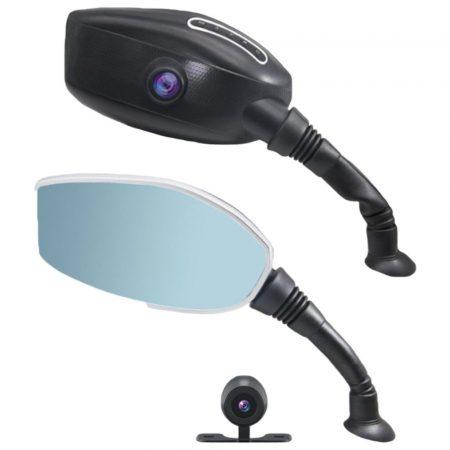Zabudovaná záznamová kamera v spätnom zrkadle pre motorky s cúvacím senzorom 2 v 1