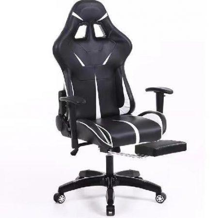 Sintact Gamer stolička s bielou a čiernou opierkou pre nohy
