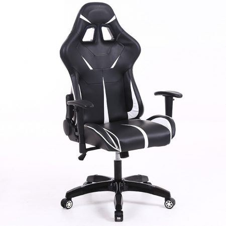 Stolička Sintact Gamer  bielo-čierna bez opierky na nohy