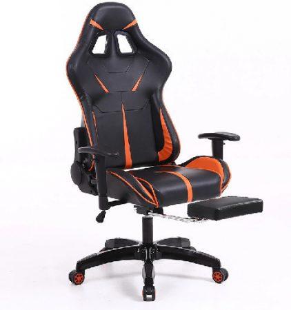 Sintact Gamer stolička oranžono-čierna s opierkou pre nohy