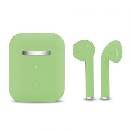 Slúchadlá Inpods 12 Macaron zelené - soft touch ovládanie a matný povrch