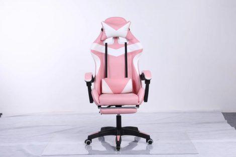RACING PRO X Herná stolička s podnožkou, bielo-ružové