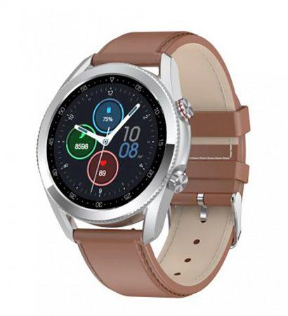 Inteligentné hodinky M2 - strieborné s hnedým remienkom